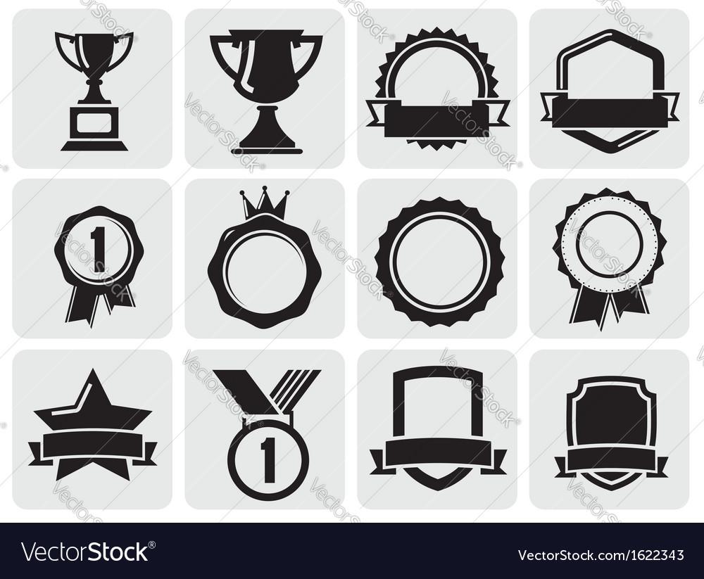 Black award set vector