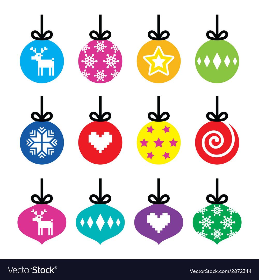 Christmas ball christmas bauble colorful icons vector