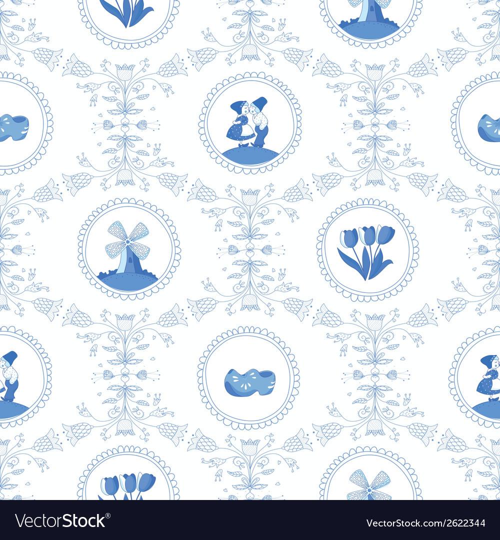 Delft blue seamless pattern vector