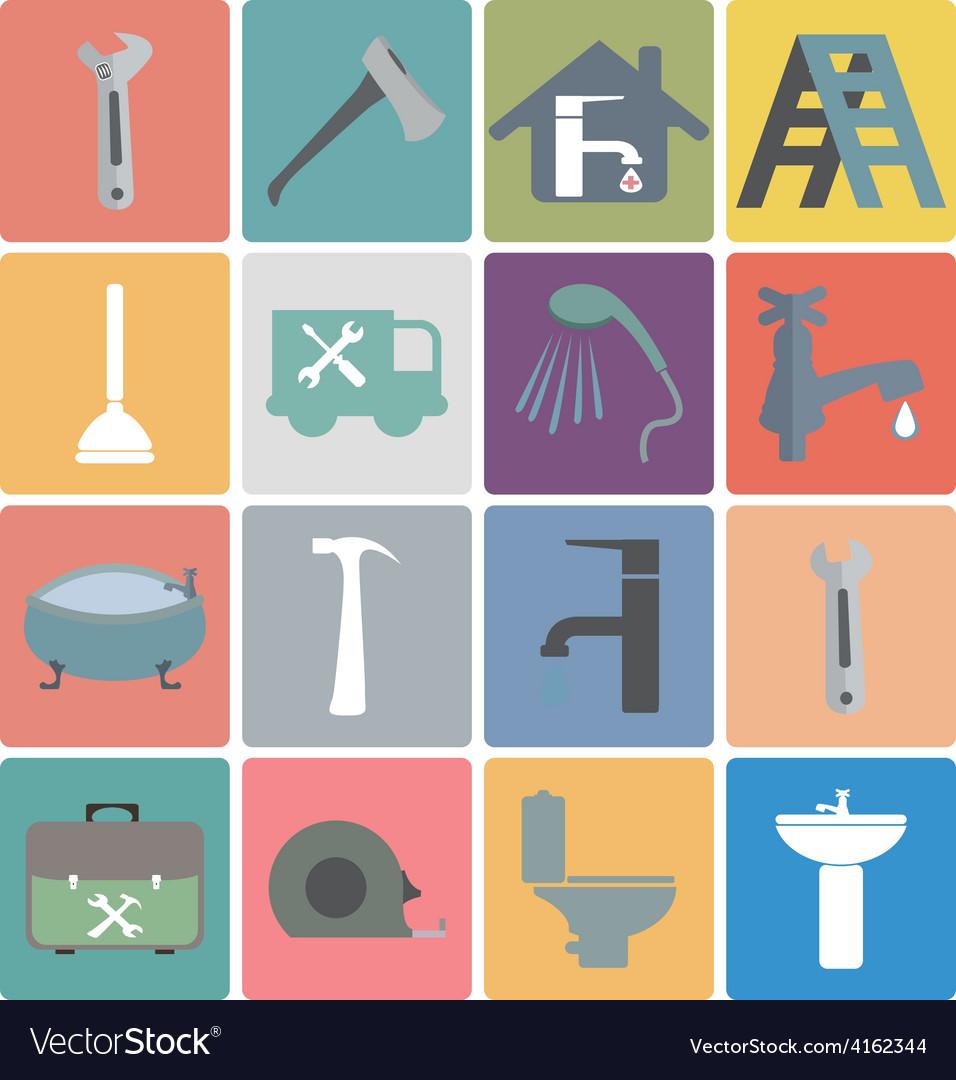 Icons set plumbing vector