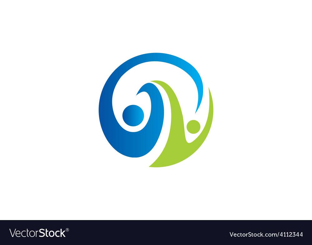 Partner round swirl abstract logo vector