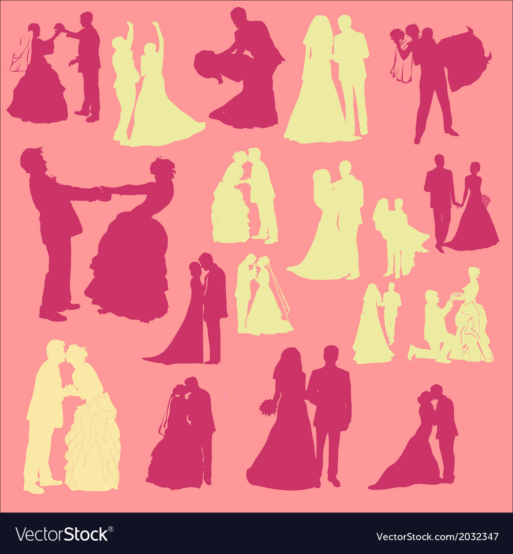 Bride and groom digital clipart vector