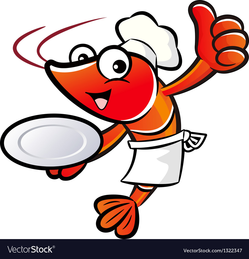 Chef shrimp the left hand is holding a plate vector