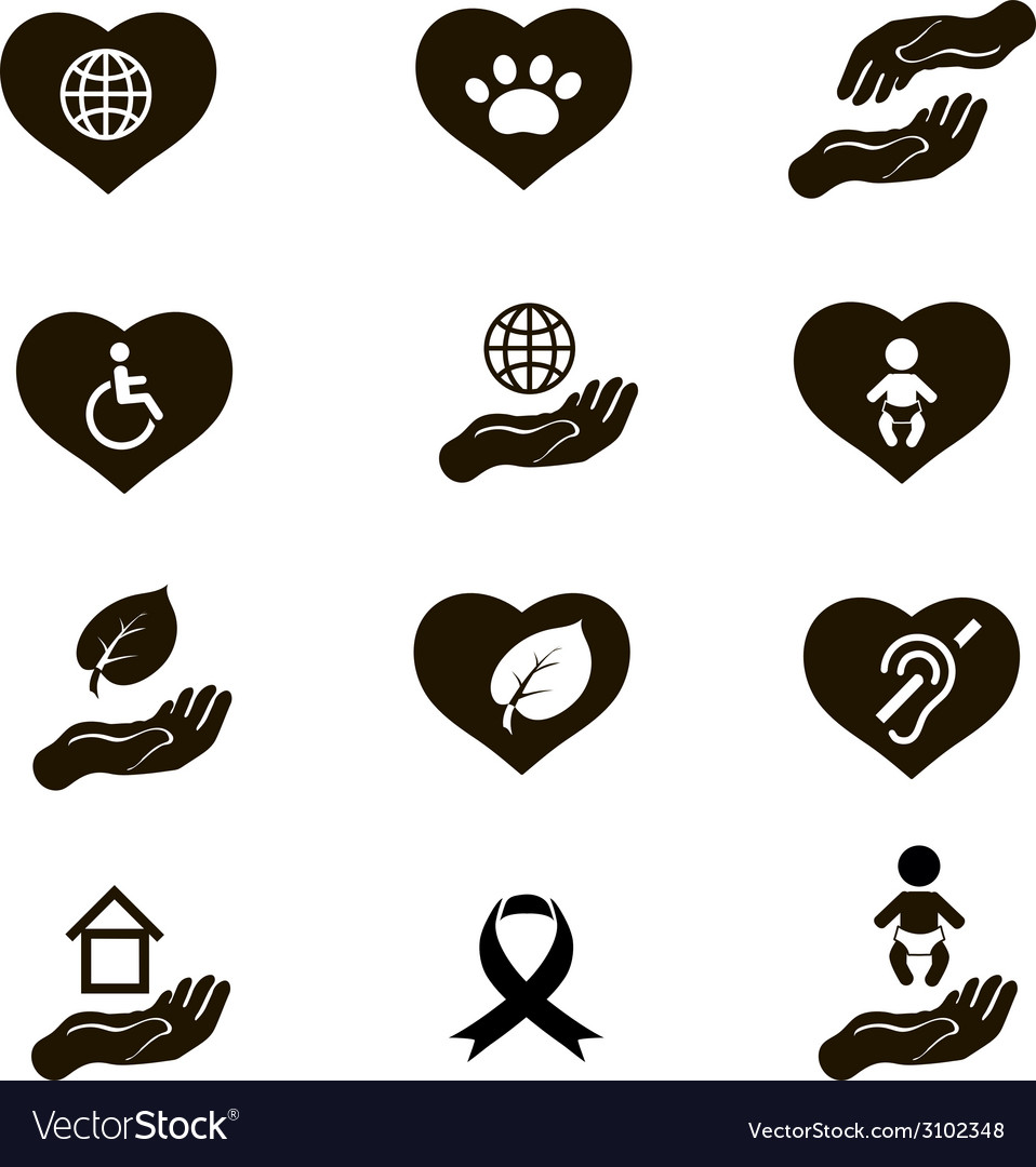 Charity donation social services and volunteer vector