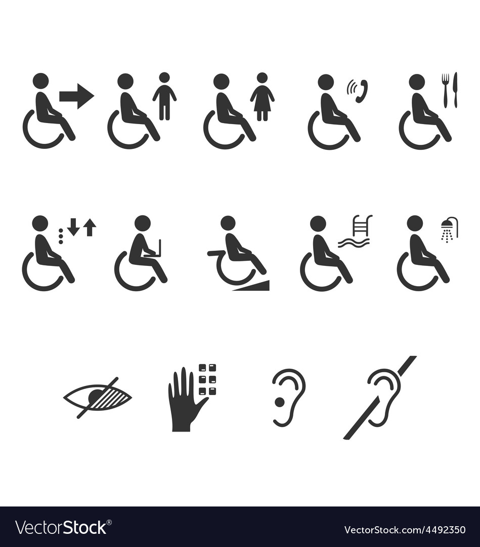 Disability people information flat icons vector