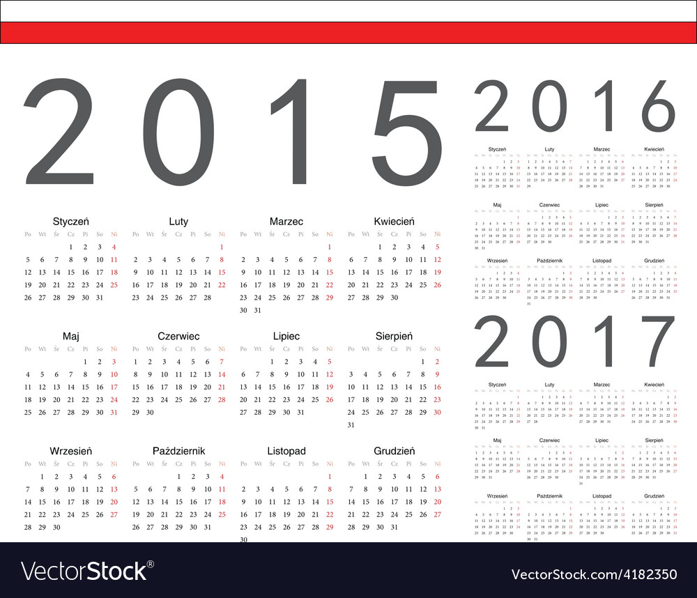 Polish square calendars 2015 2016 2017 vector