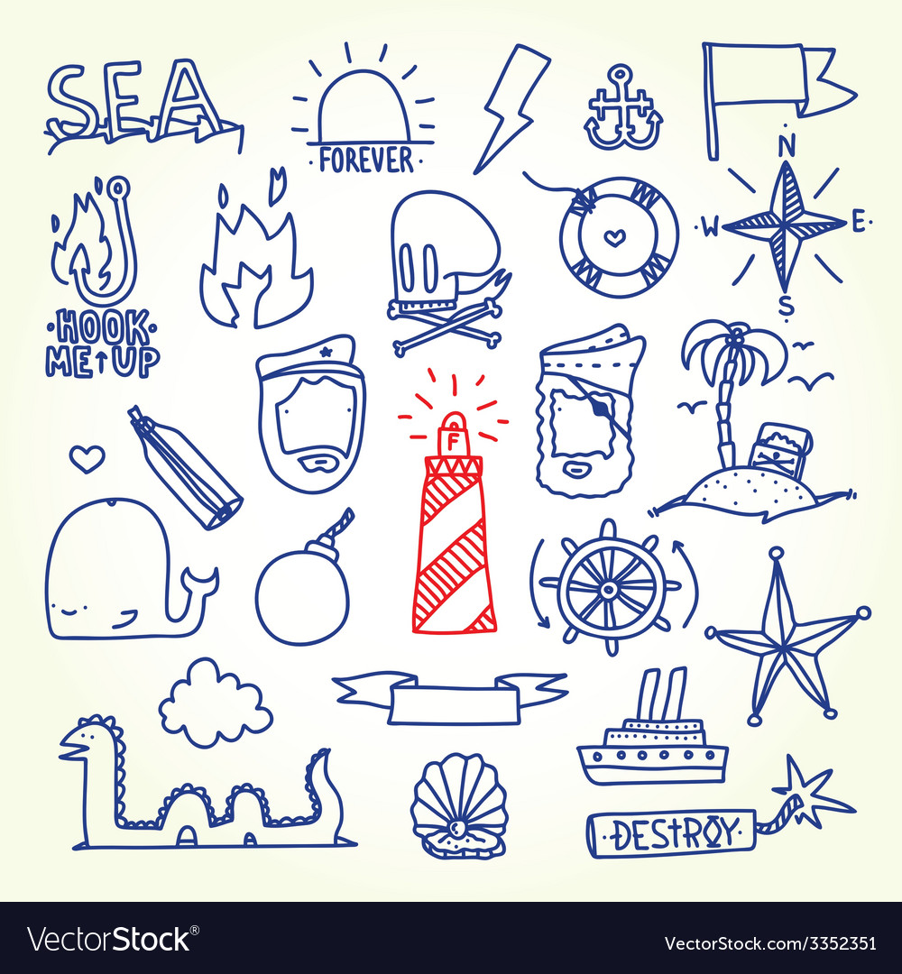 Hand drawn old school tattoo objects vector