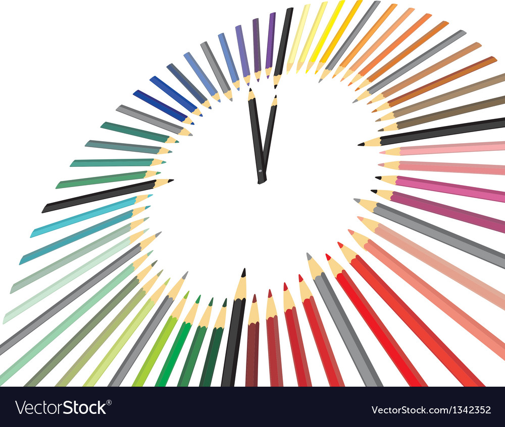 Hours of colored pencils vector