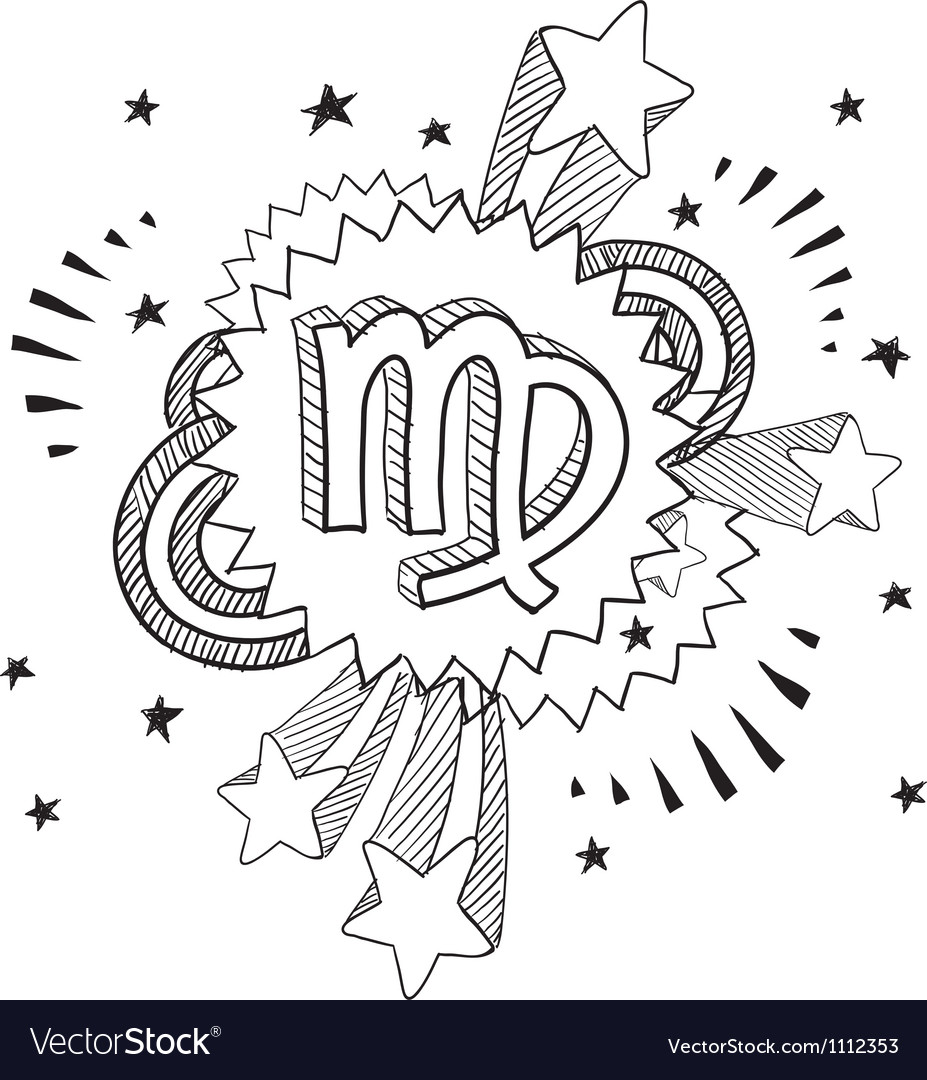 Doodle pop astrology virgo vector