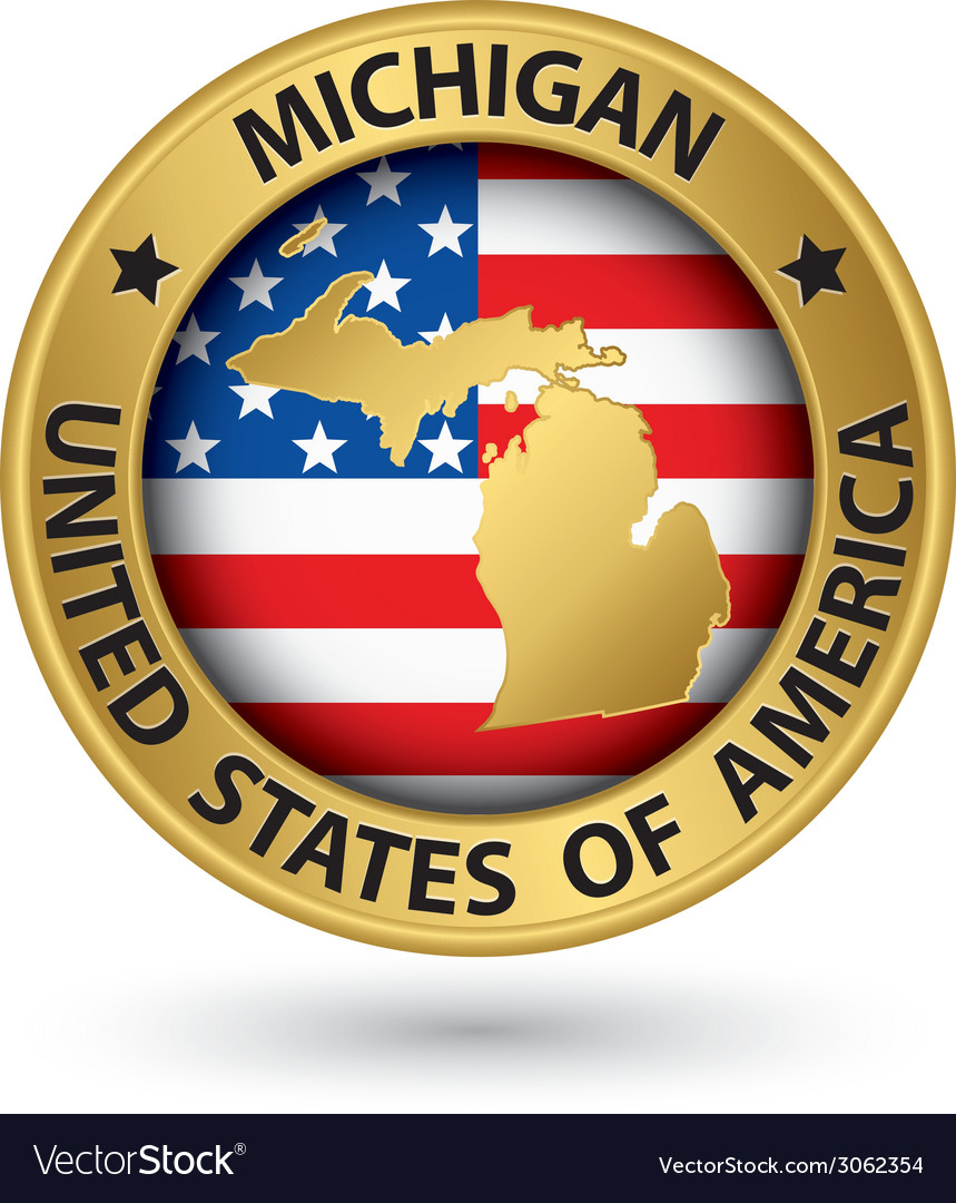 Michigan state gold label with state map vector