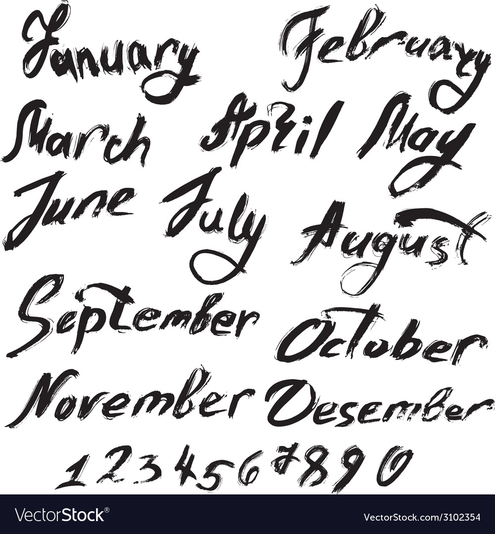 Month handwritten 380 vector