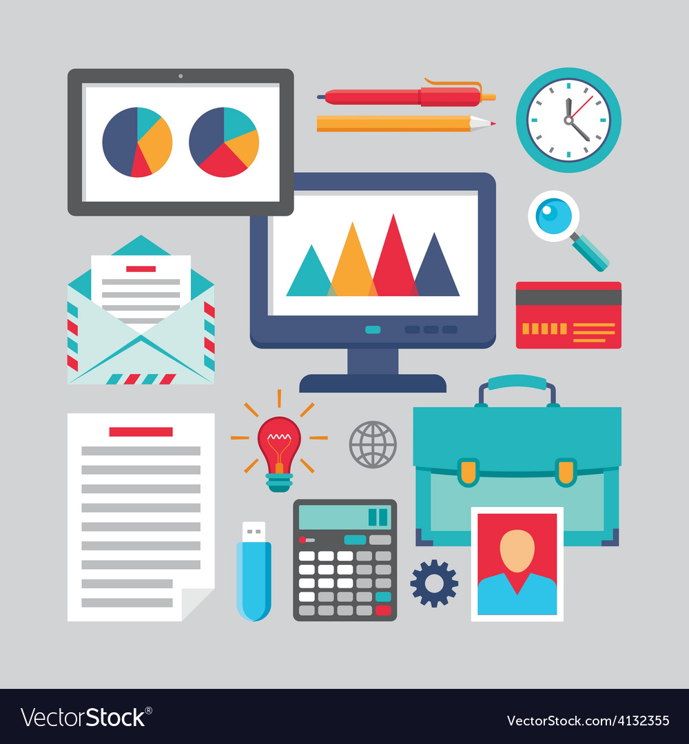 Flat design - business icons - flat style vector
