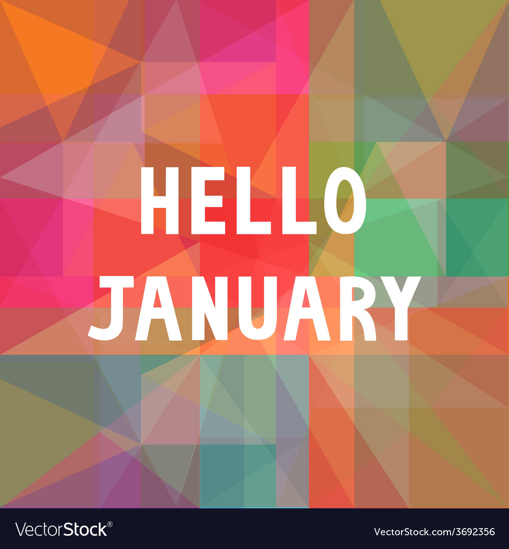 Hello january card1 vector