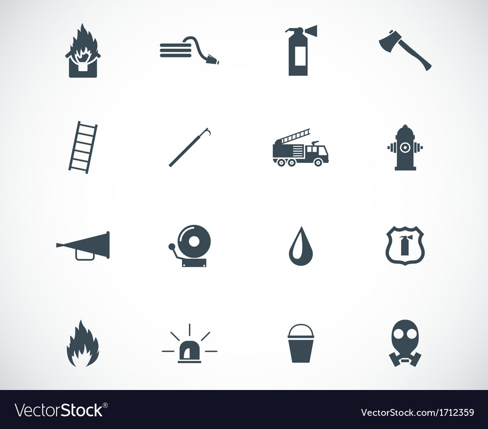 Black firefighter icons set vector