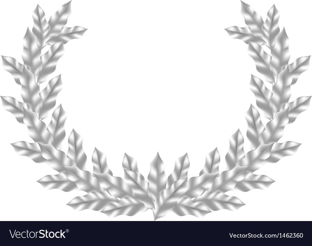Realistic silver laurel wreath vector