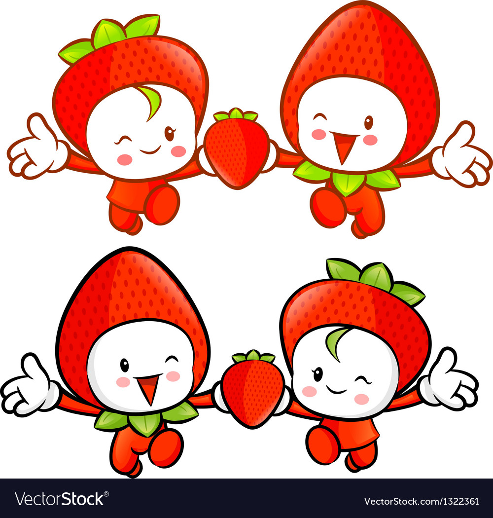 Strawberry character couples on running vector
