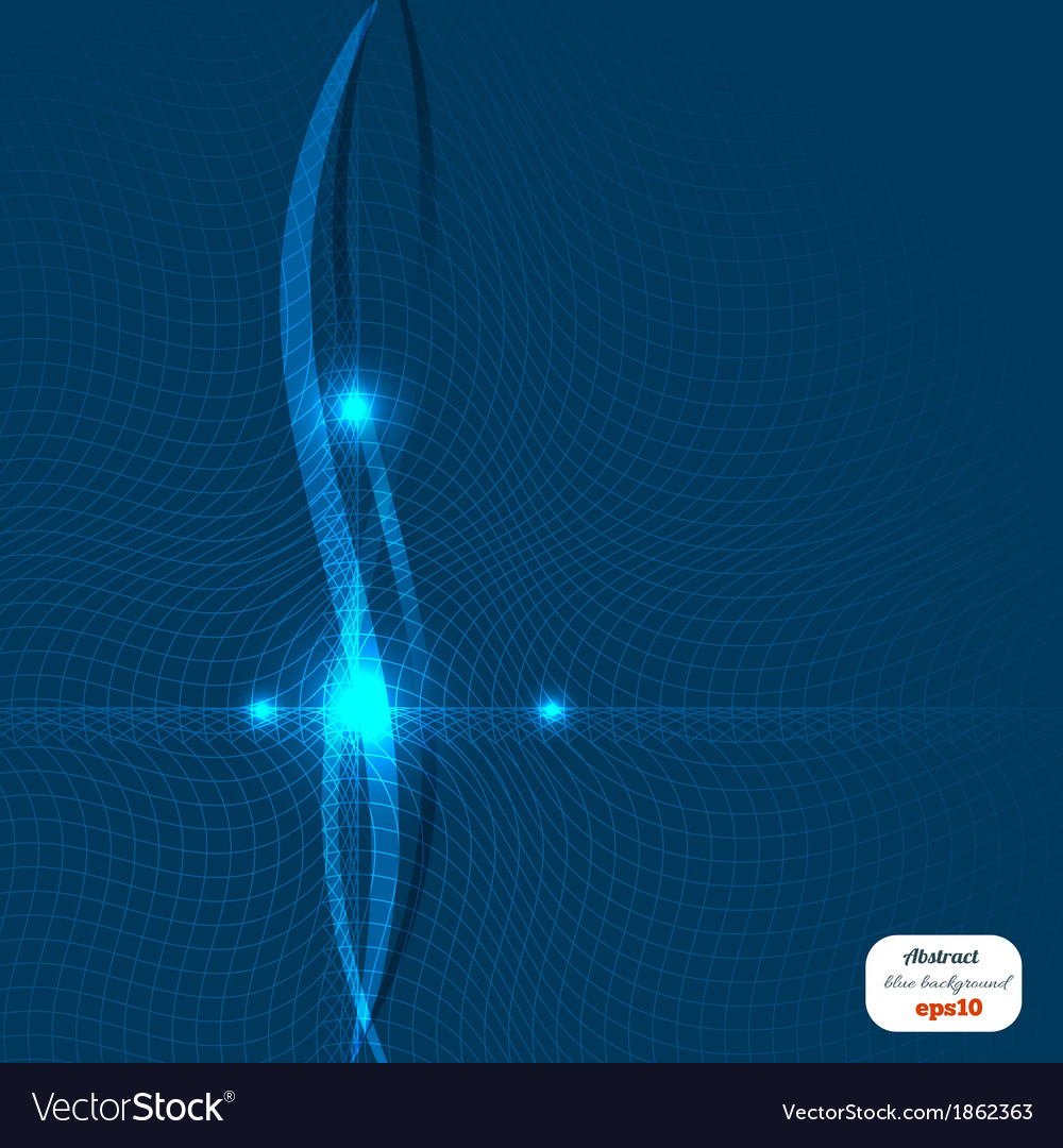 Abstract blue background with waves of light vector