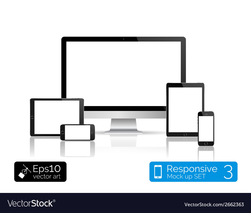 Modern monitor glossy tablet and smartphone vector