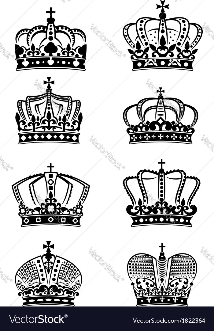 Set of vintage heraldic royal crowns vector