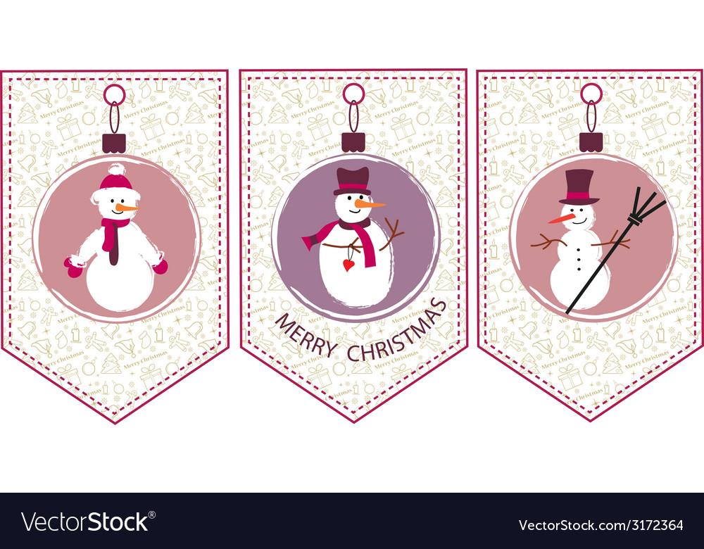 Three decoration christmas balls with snowmen vector