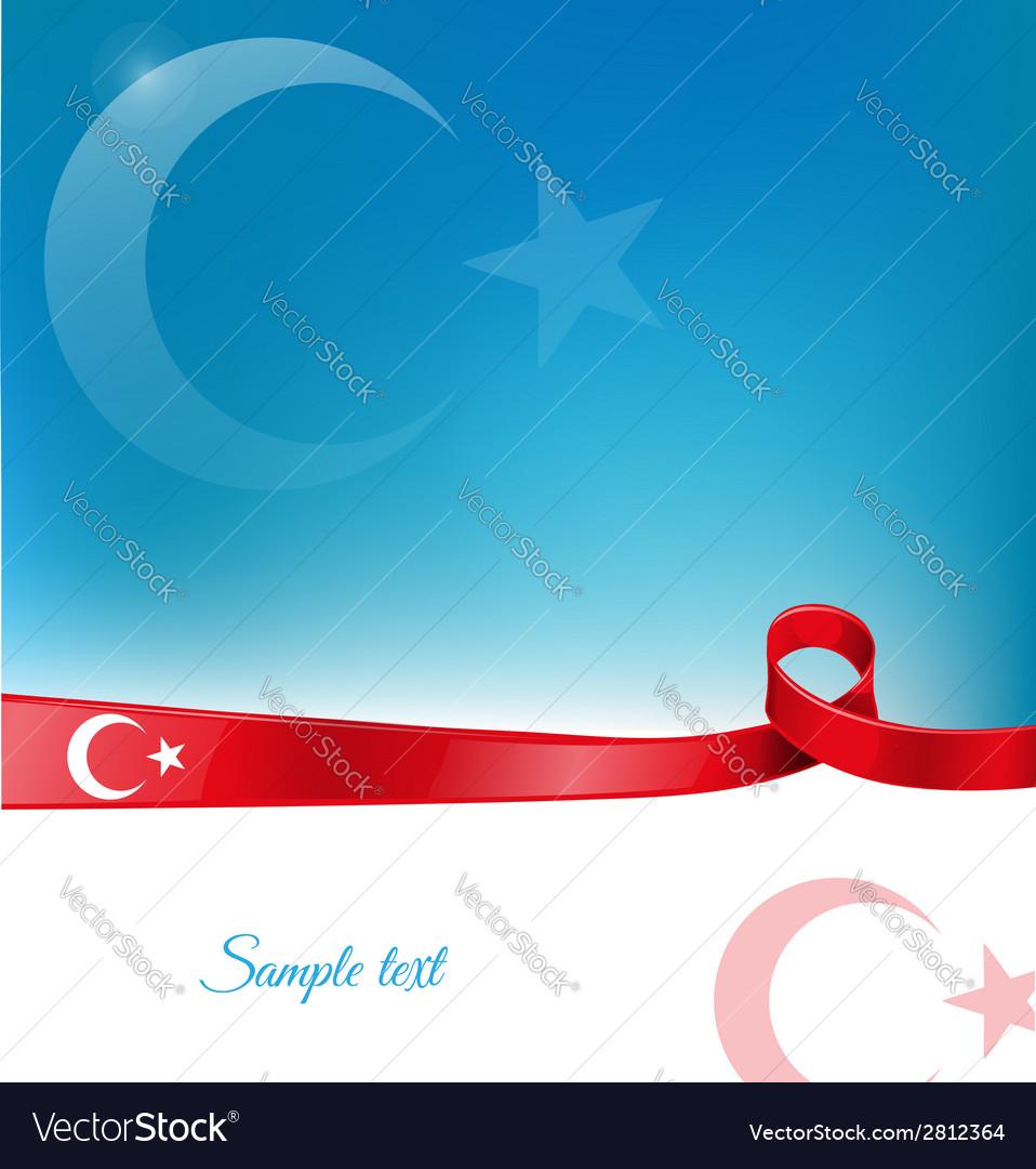 Turkey ribbon flag background vector