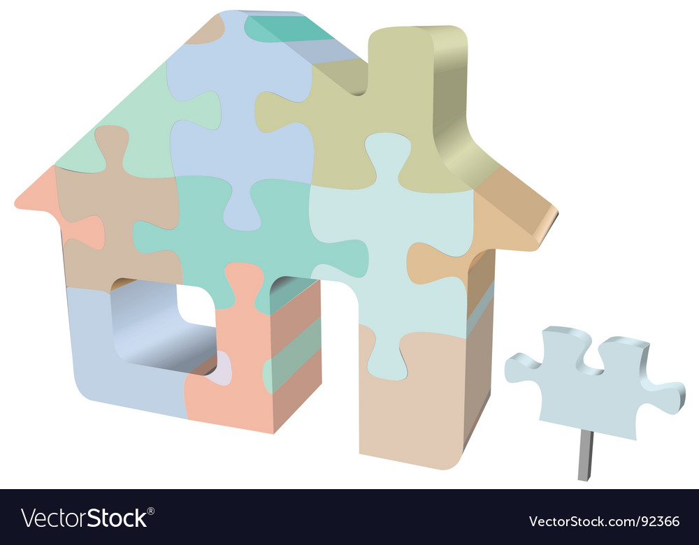 Home jigsaw puzzle with sign vector