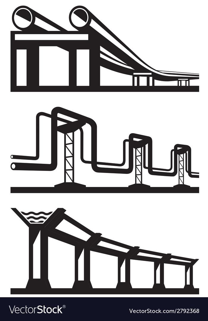 Industrial lines set vector