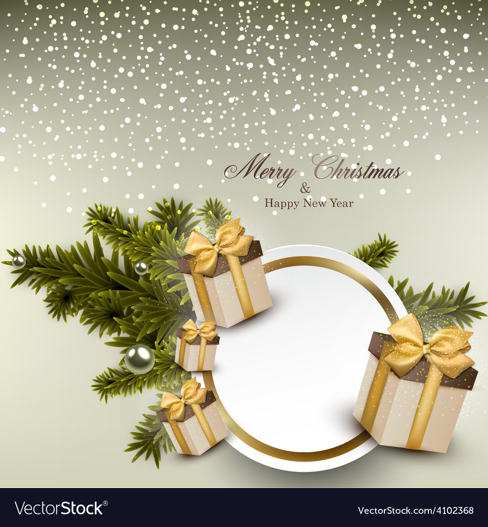 White paper gift card with gift boxes vector