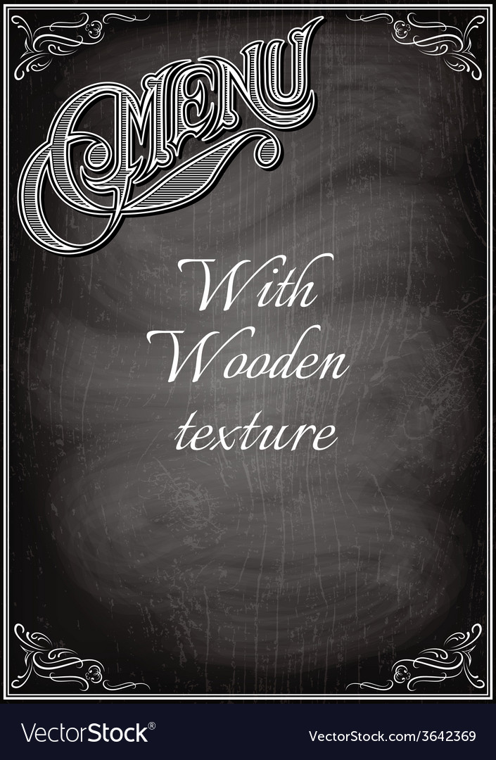 Black chalkboard with a with wood texture vector