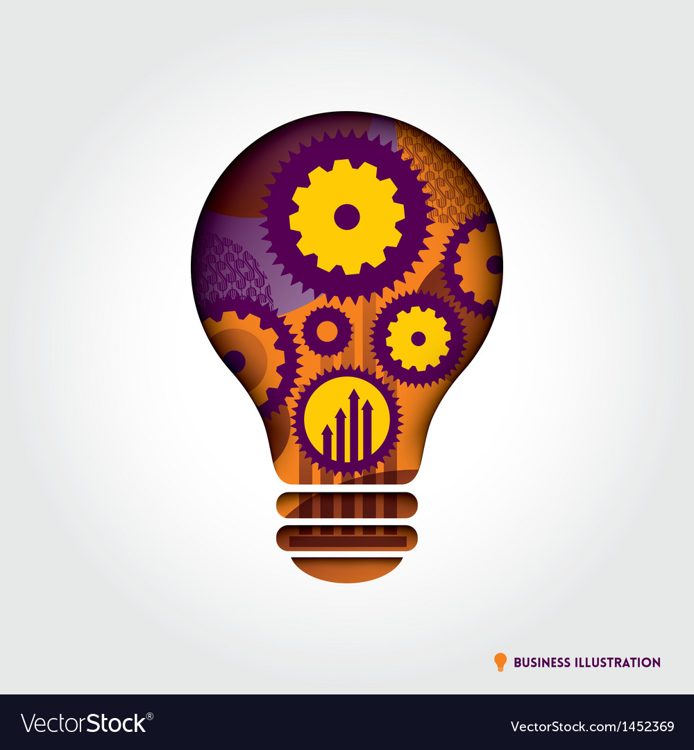 Minimal style light bulb shape with business idea vector