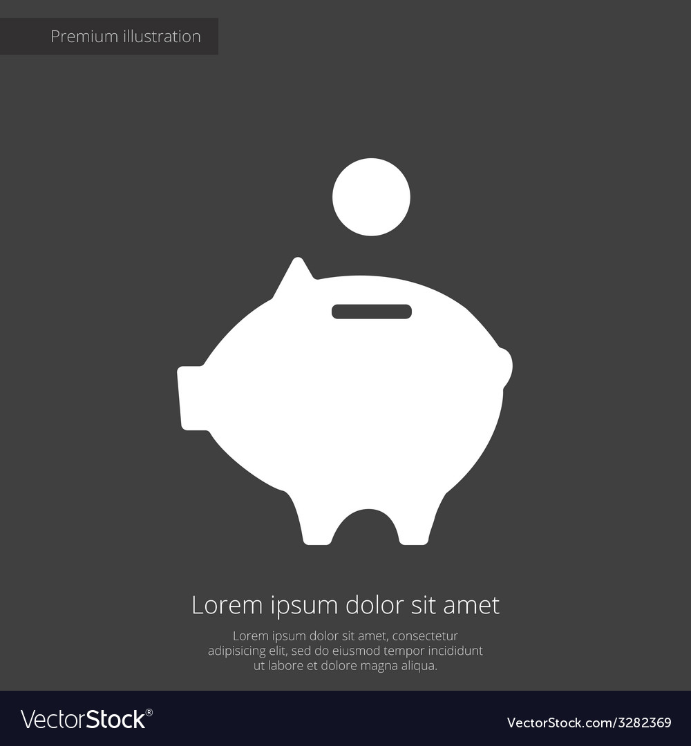 Moneybox piggy premium icon white on dark backgrou vector