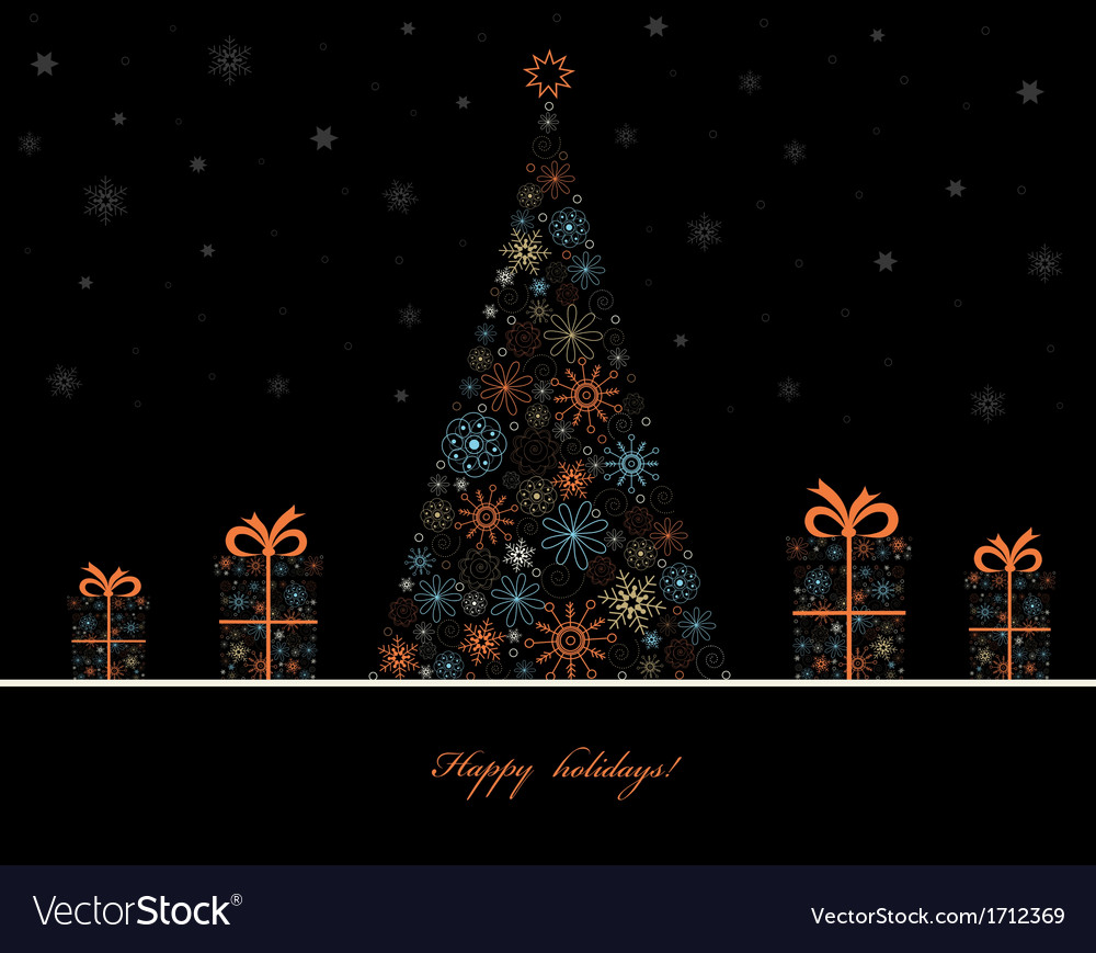 Tree with gift boxes vector