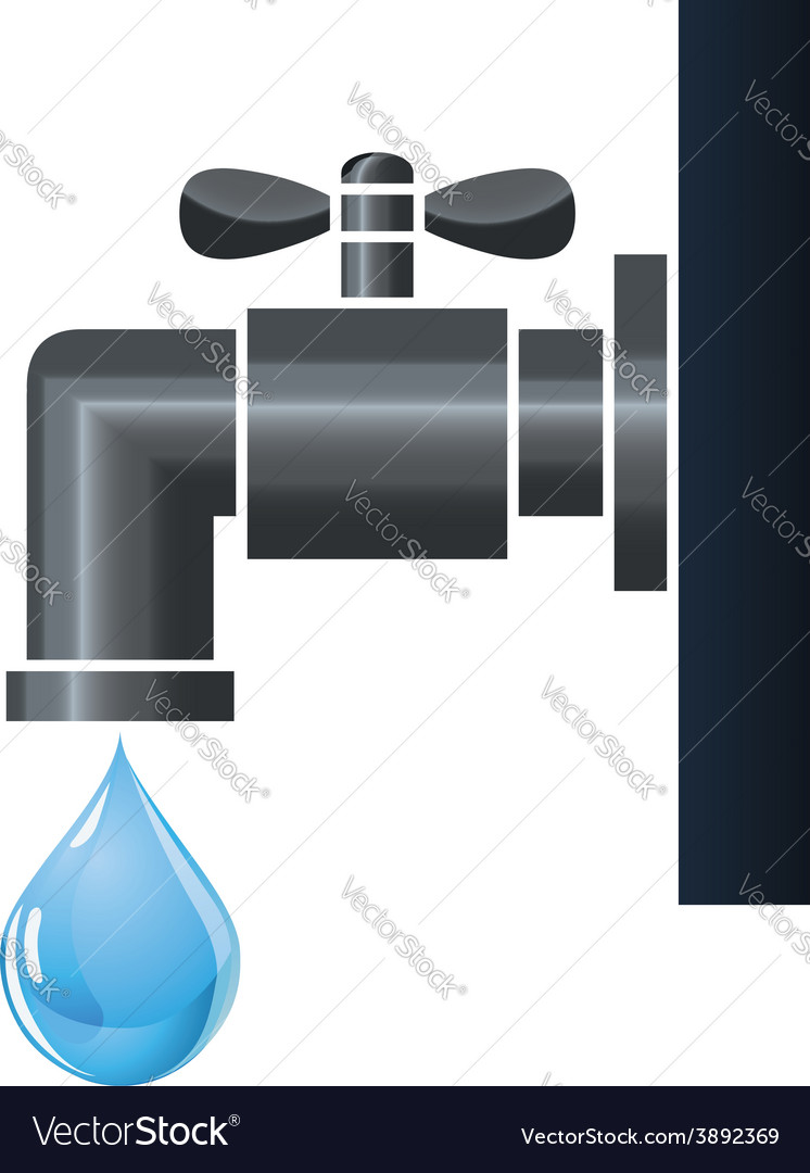 Water tap or faucet with droplet vector
