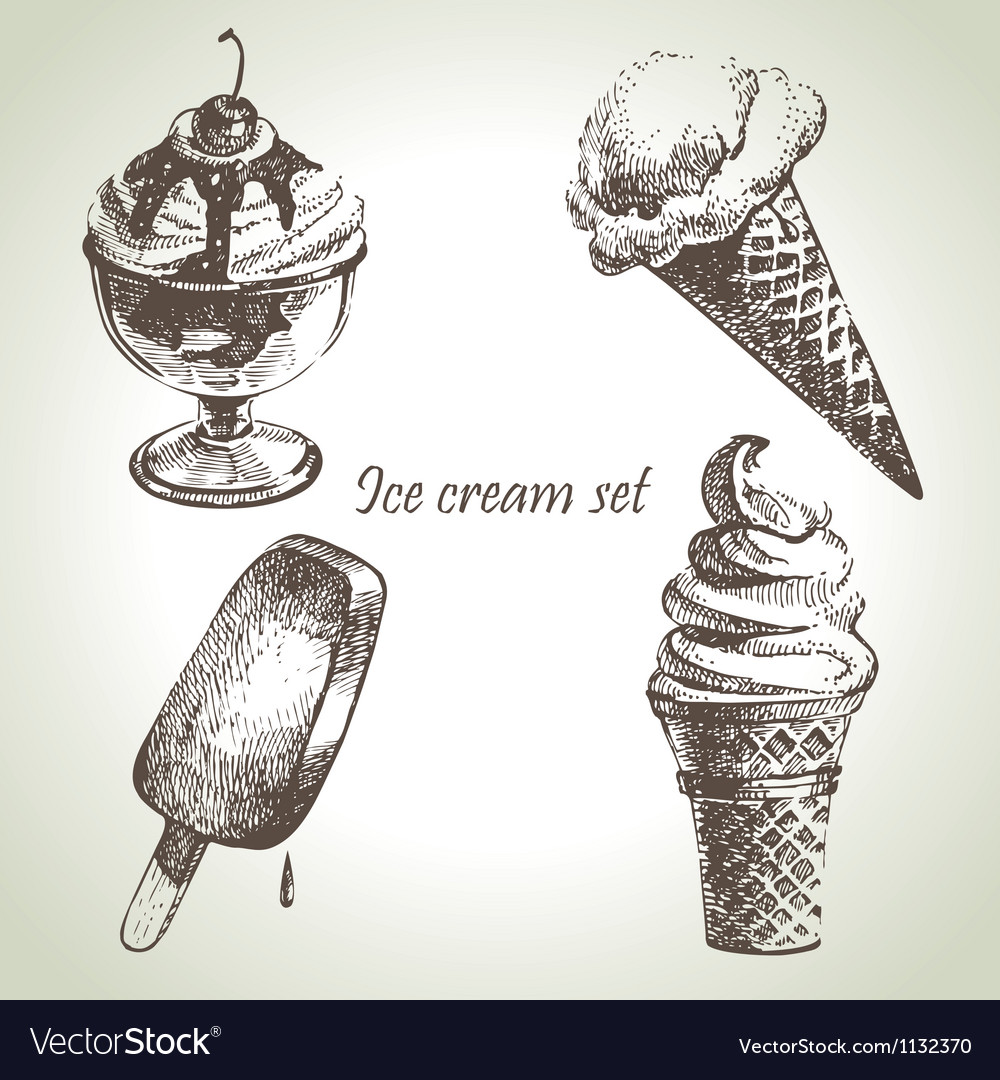 Ice cream set hand drawn vector