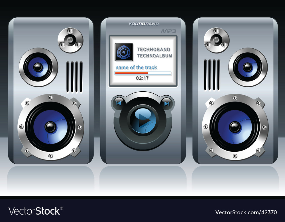 Mp3 player with speakers vector