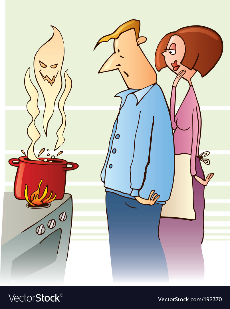 Surprised family boiling toxic soup vector