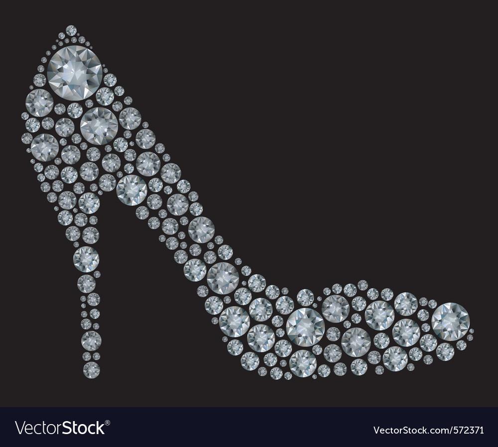 Diamond high heel shoe vector