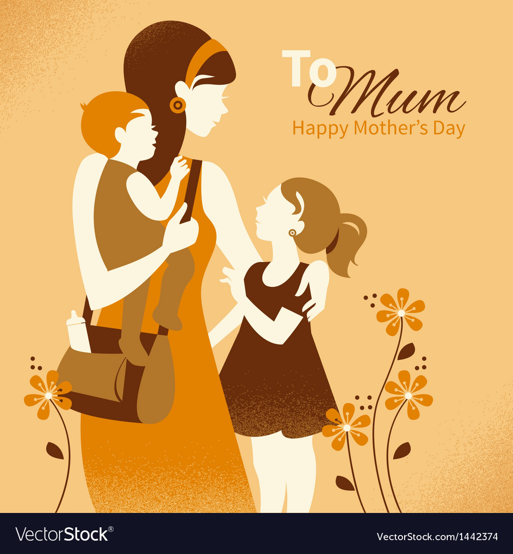 Beautiful mother silhouette with her children vector