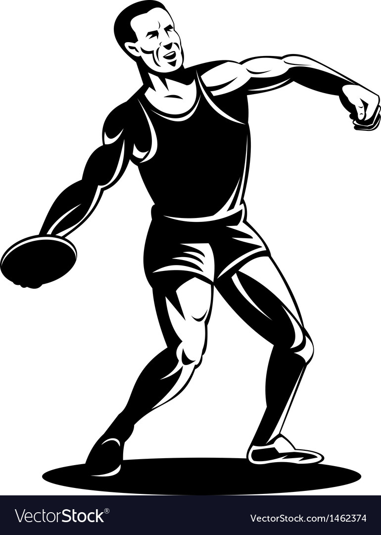 Track and field discuss throw athlete vector