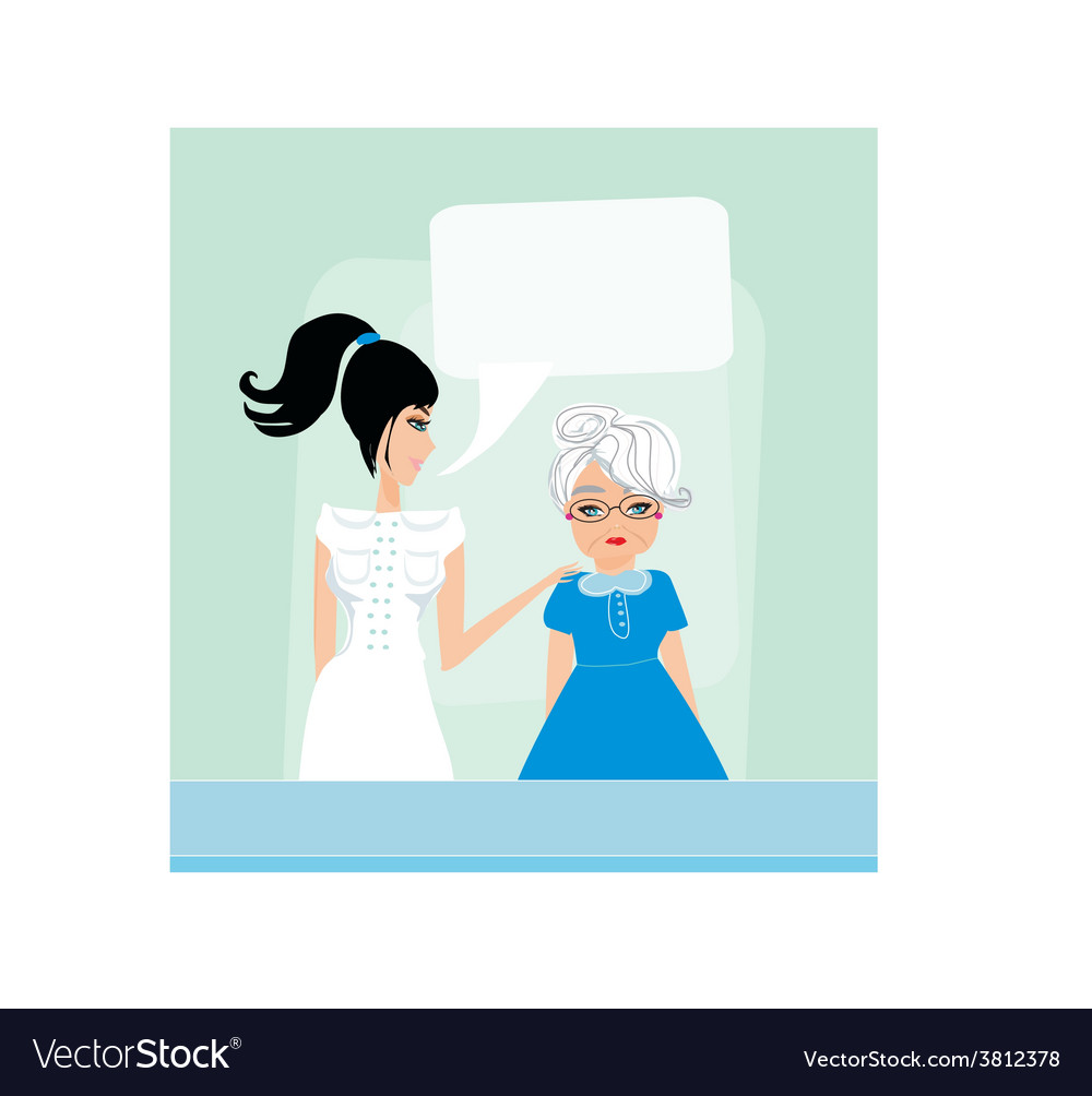 Senior woman with her caregiver vector