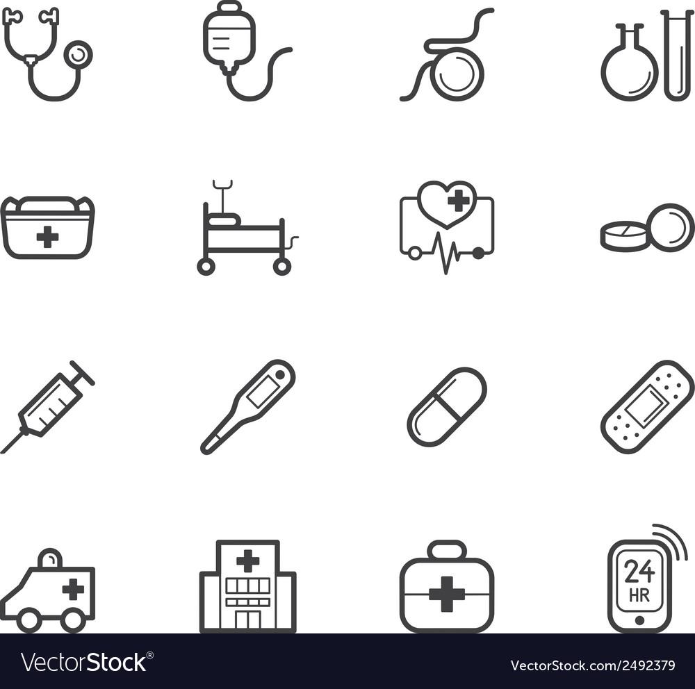 Hospital element black icon set on white bg vector