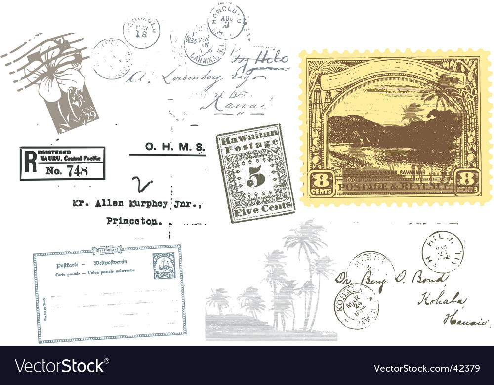 Travel passport stamps vector