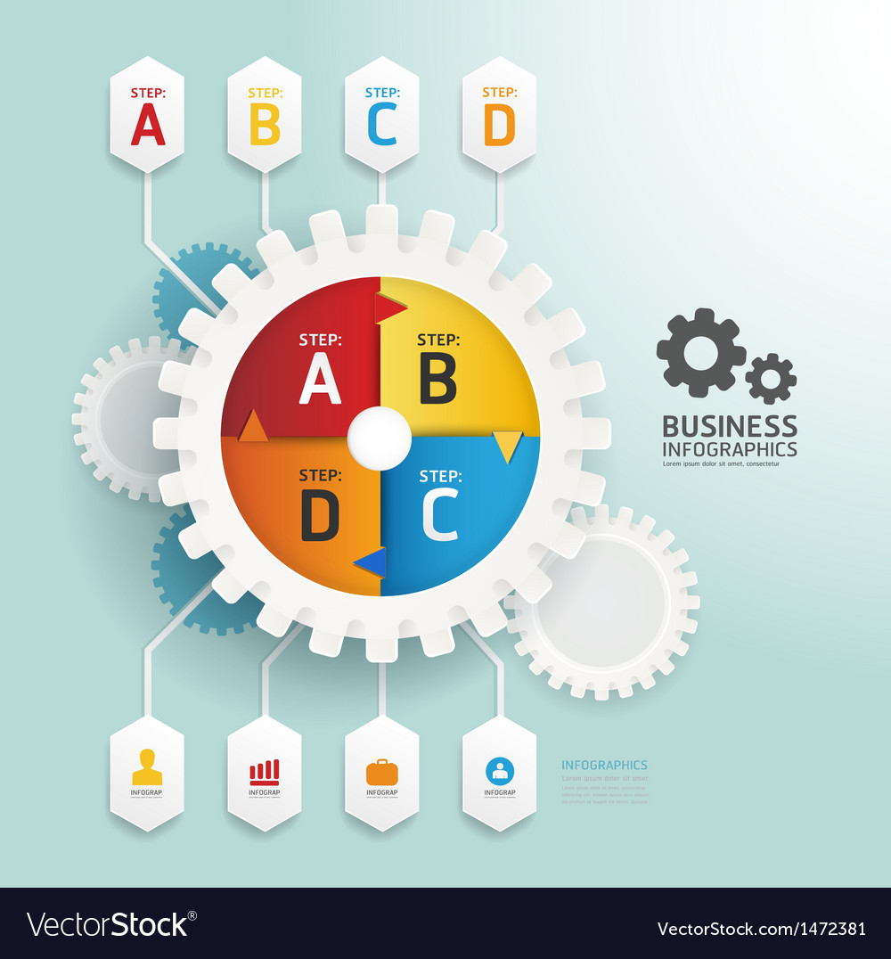 Modern design gear style infographic template vector