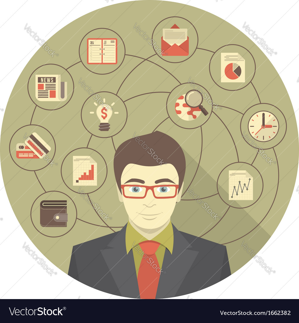 Modern businessman concept in gray circle vector