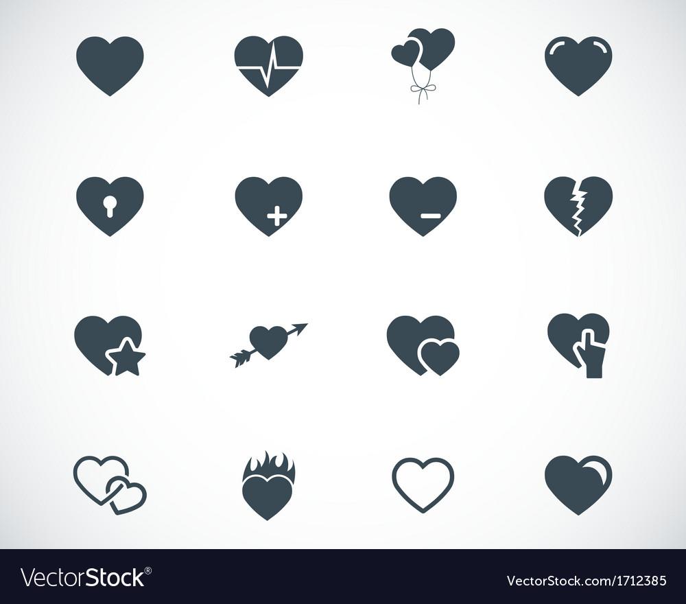 Black hearts icons set vector