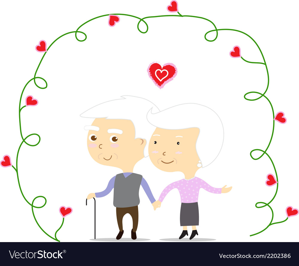 An old couple in love vector