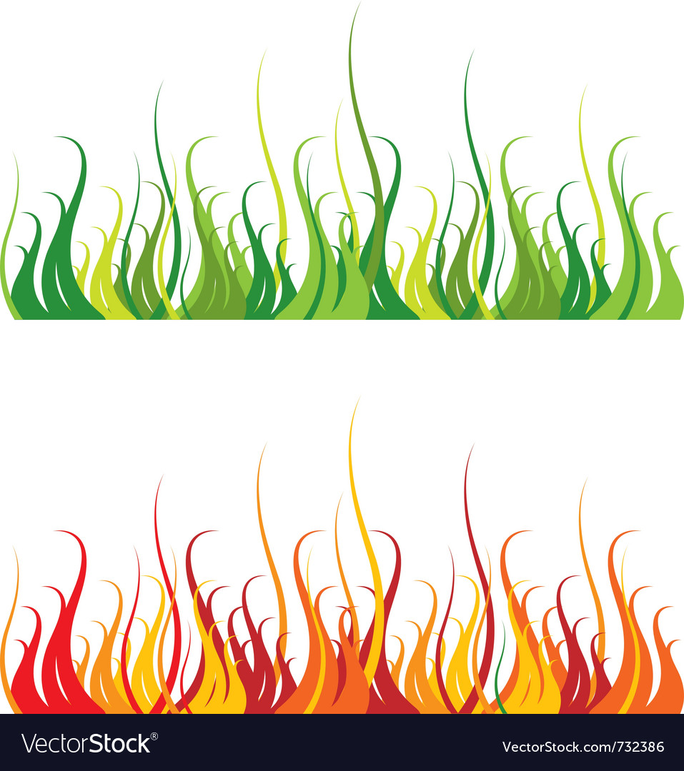 Grass and fire vector