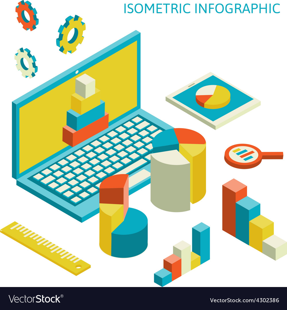 Isometric business finance analytics chart vector
