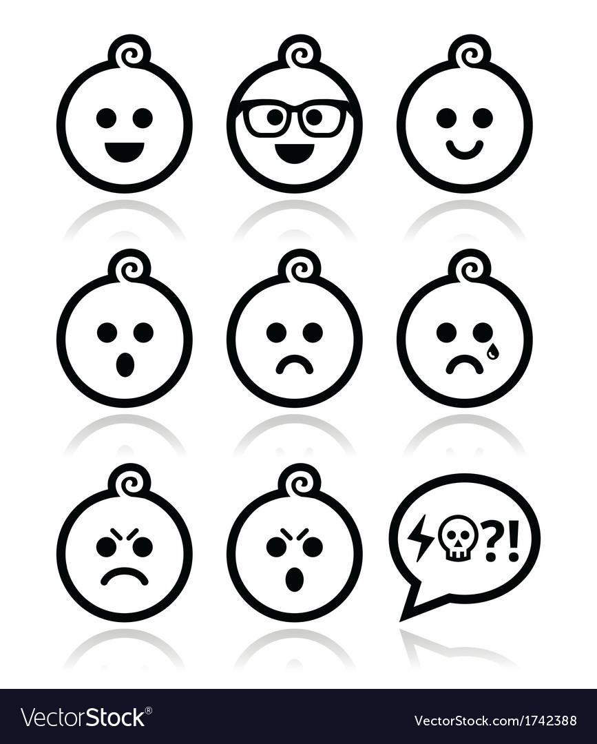 Baby boy faces avatar icons set vector