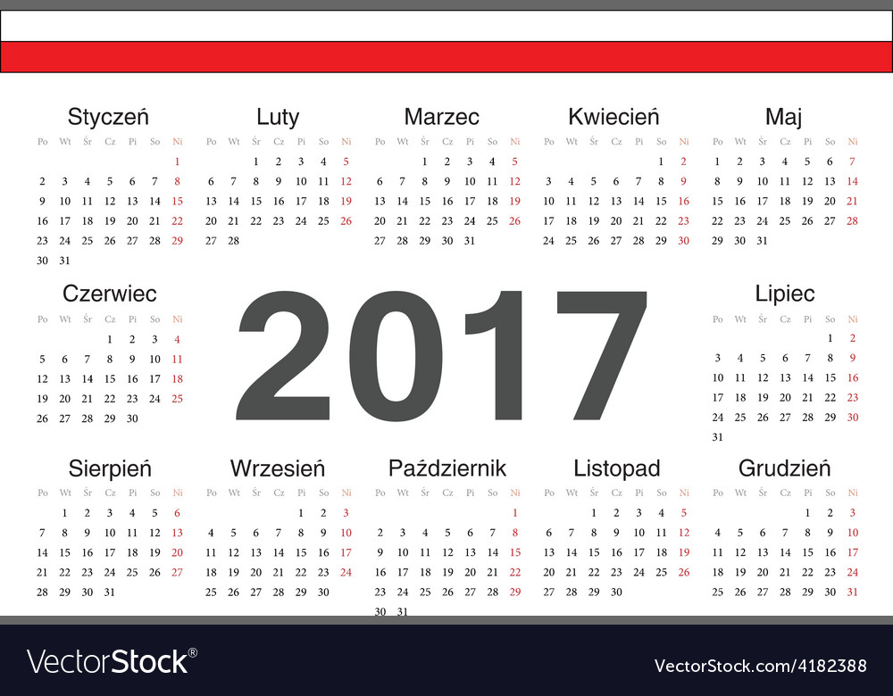 Circle polish 2017 year calendar vector